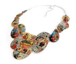 Necklace out of Recycled Popeye cartoons.  Cute.