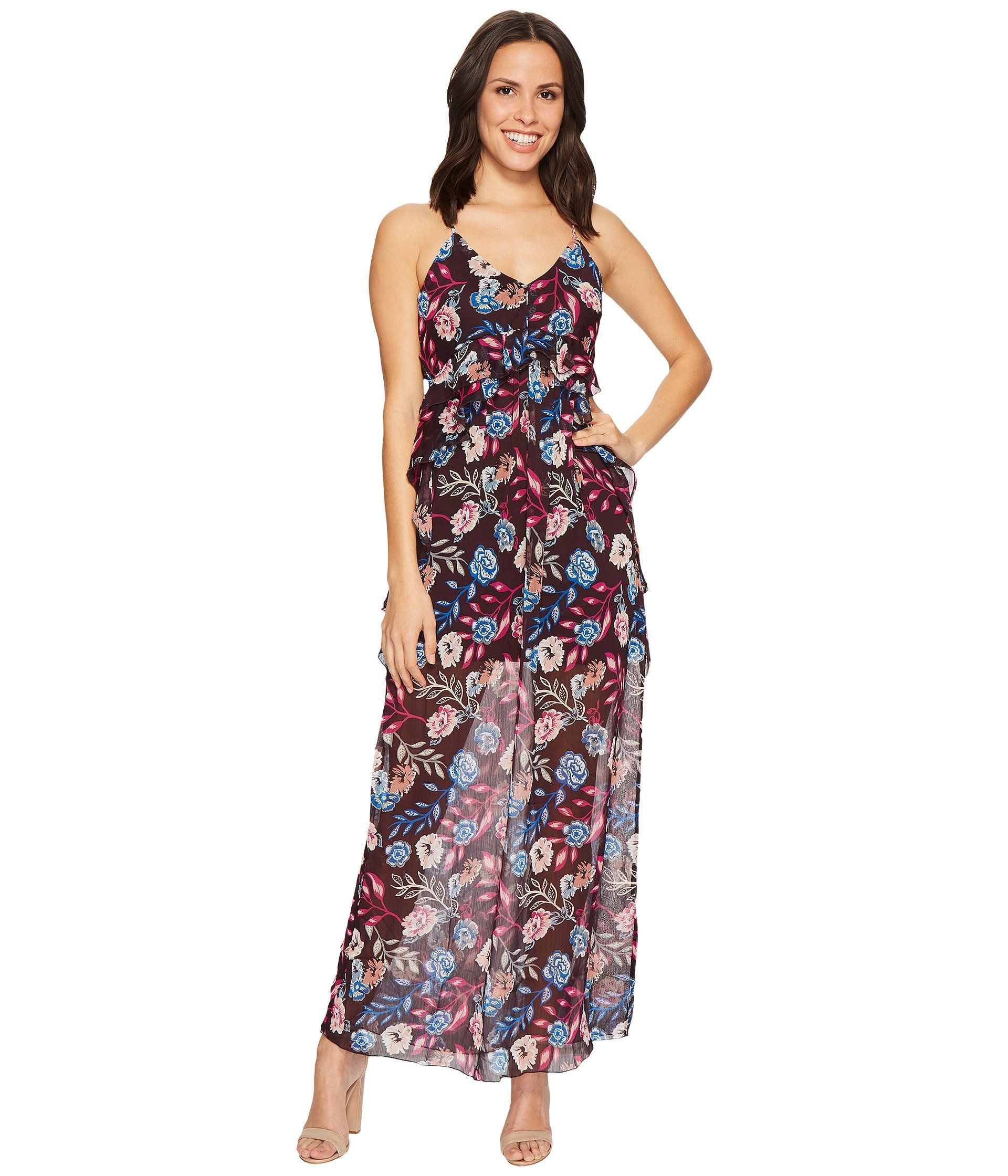 ROMEO & JULIET COUTURE Floral Chiffon Ruffled Maxi Dress.  #romeojulietcouture #cloth #