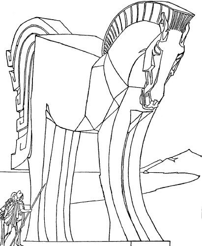 Bring The Greatest Moment Of Trojan War To Life With This Horse Coloring Page Free Captures Size And Scope Greeks