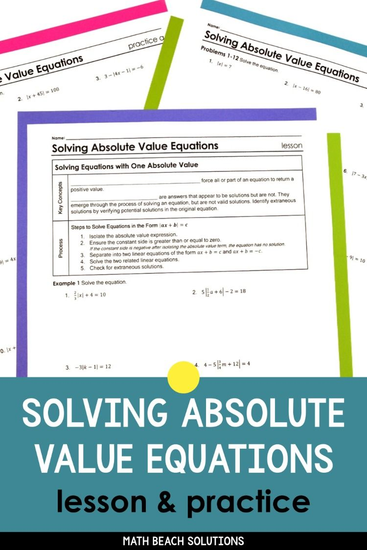 Solving Absolute Value Equations Lesson Absolute Value Equations Equations Absolute Value [ 1124 x 750 Pixel ]