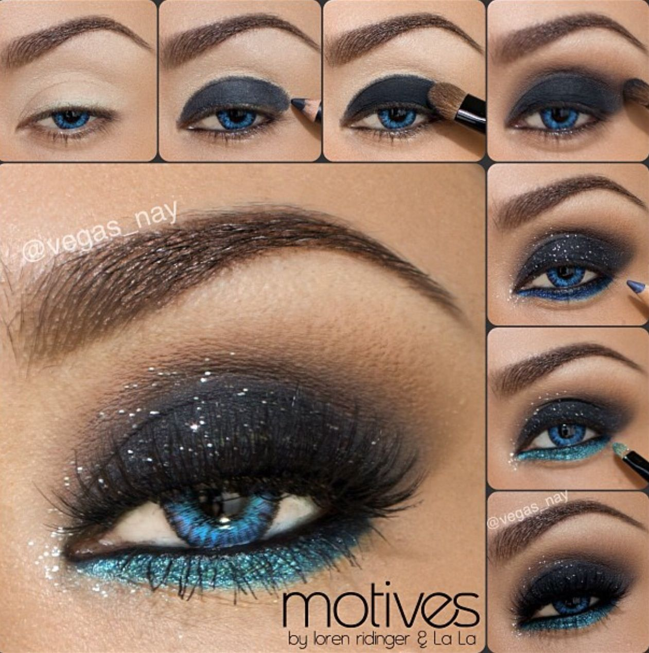 Black sparkly shadow with shimmery blue on lower lash line.