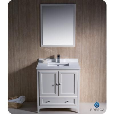 Fresca Oxford 30 Inch Antique White Traditional Bathroom Vanity