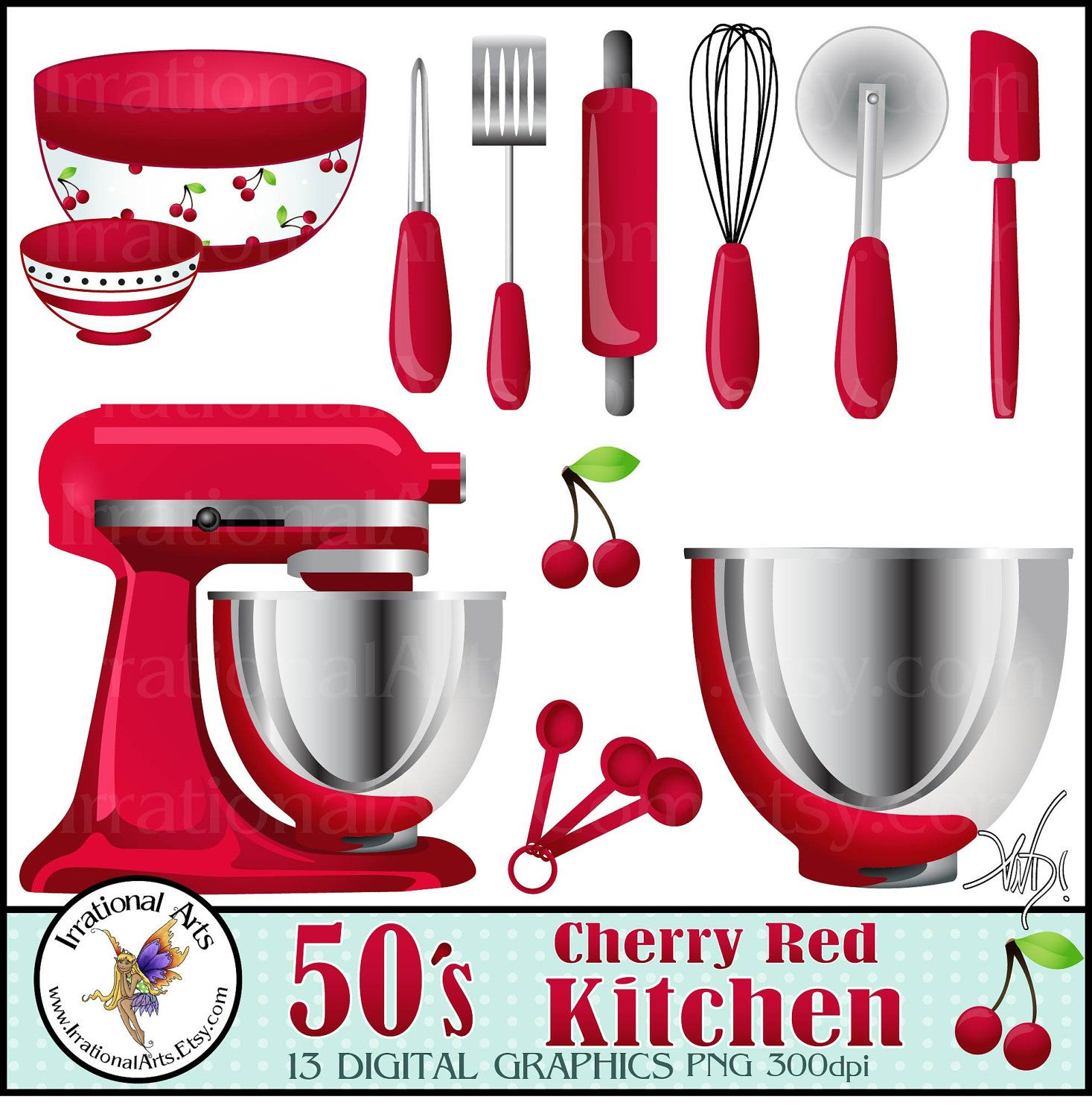 50's Cherry Red Kitchen Digital Clipart Graphics 13
