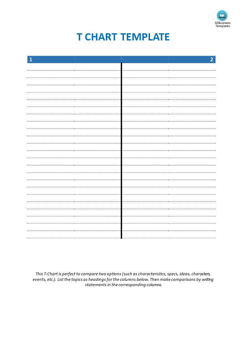 Blank T Chart Template Templates At Allbusinesstemplates Regarding T Chart Template For Word Best Sample Template Printable Chart Templates Chart