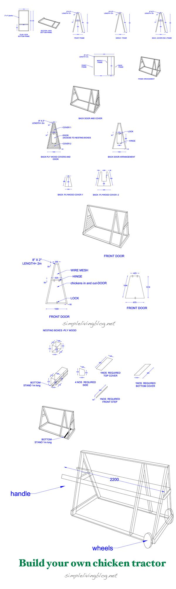 Free plans to build your own chicken tractor | random | Pinterest ...