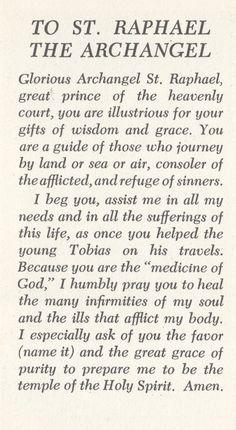 Prayer to st raphael angel of happy meetings