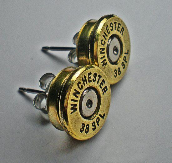 38 Winchester spécial laiton Bullet Head Stud Post boucles doreilles puce bijoux Steampunk    Pèse moins de 1 once de chaque boucle doreille.