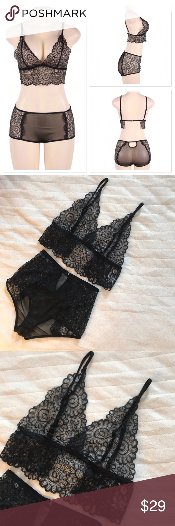 f79345fab042e Black Floral Lace Bra   Panty Set ‼️PLEASE NOTE  Labeled size medium 6