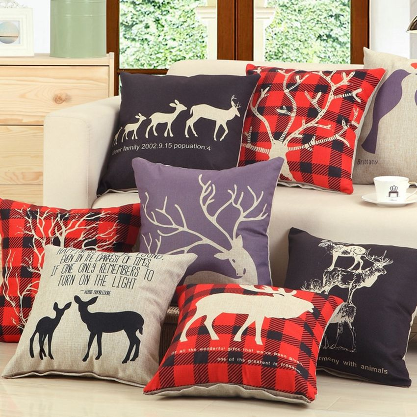 New Arrivals Deer Theme Throw Pillows Nordic Style Household Sofa  Decorative Pillows Cotton Linen Square Car