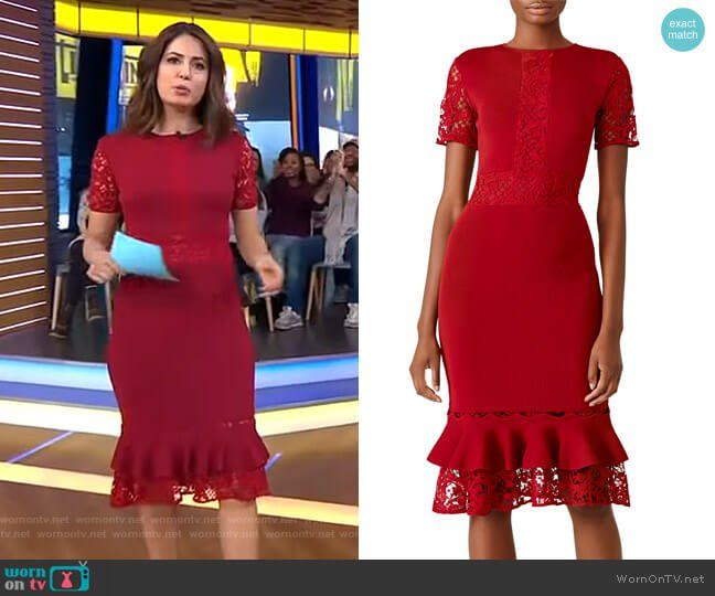 Cecilia's Red Lace Inset Dress On Good Morning America