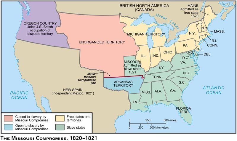 1820 Map Of Us US 1820 | World history map, Missouri compromise, British north