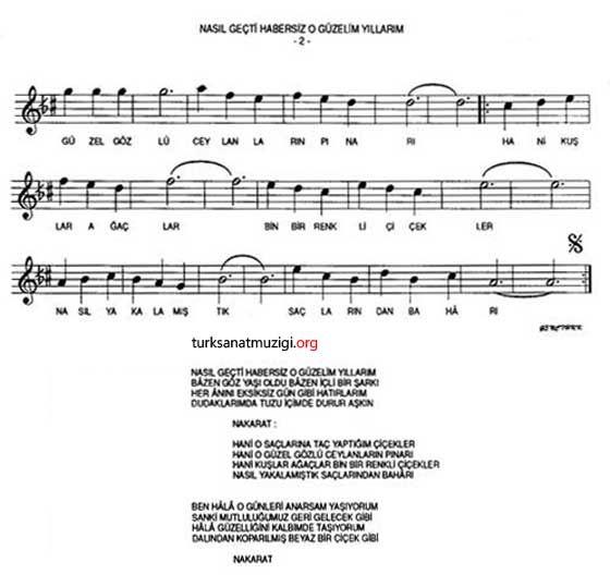 Nasil Gecti Habersiz O Guzelim Yillarim Notasi Sheet Music Music