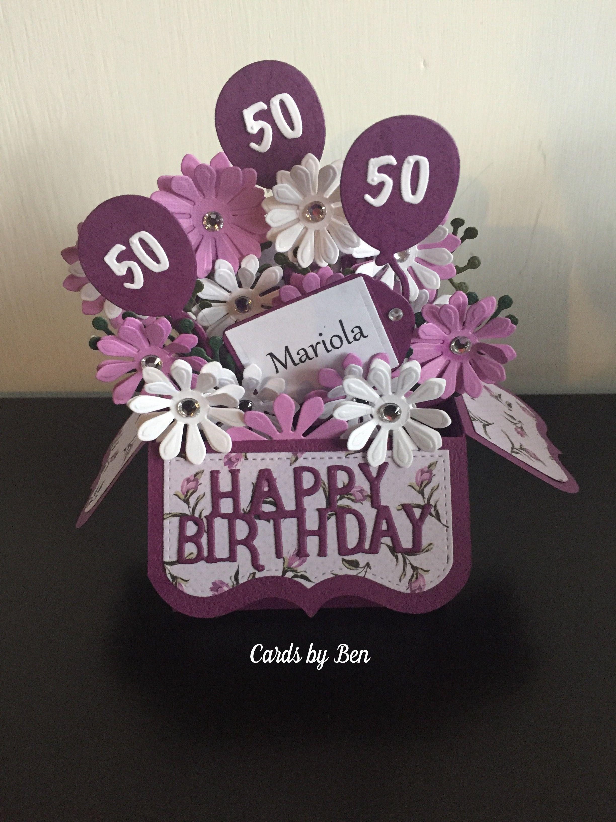 Pop Up Box 50 Birthday Card Boxed Birthday Cards 50th Birthday Cards 60th Birthday Cards