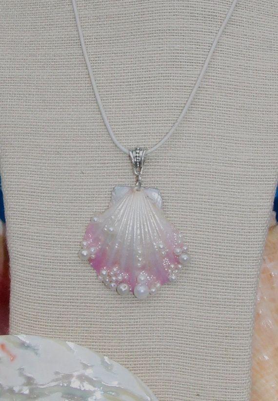 Stunning Pink Shell /& Bead Necklace Seashell Ocean Jewellery