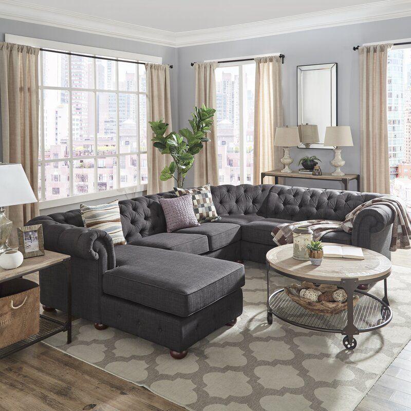 Darby Home Co Brockway Sectional Wayfair Open Living Room Design Minimalist Living Room Gray Rug Living Room