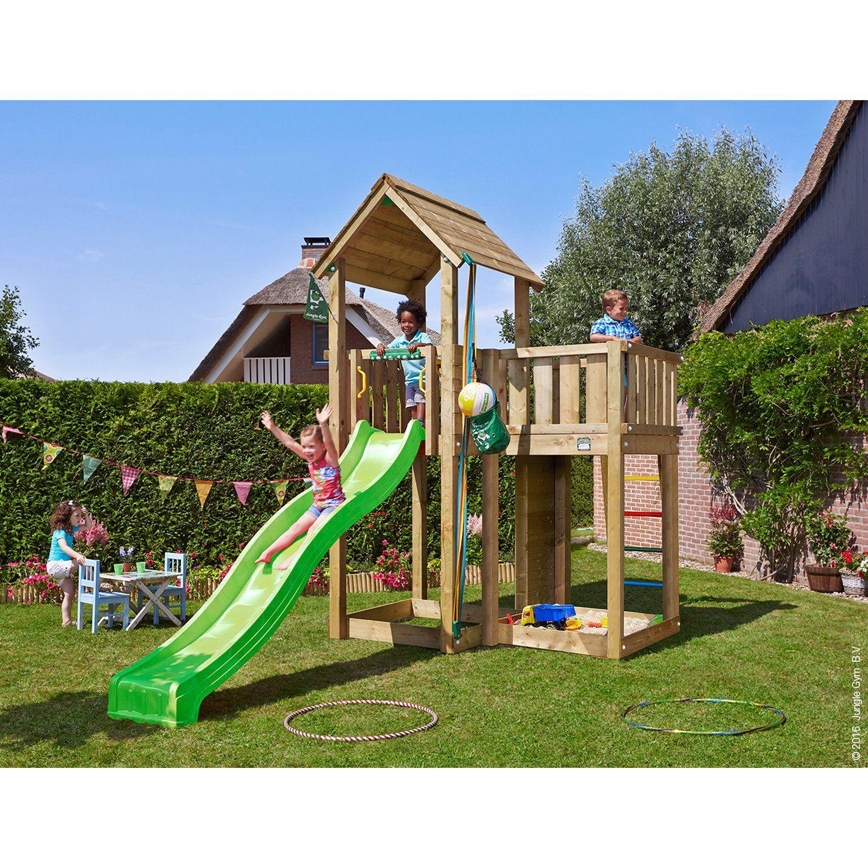 Jungle Gym Holzspielturm Mansion mit Rutsche Grün mit ...
