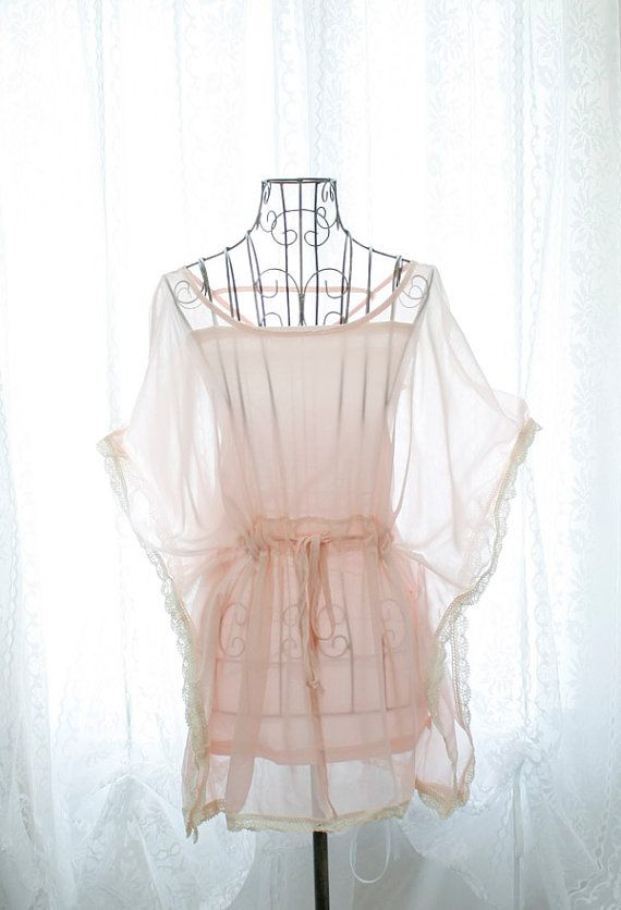 8dc0db020b Rosort fairytale sheer chiffon pale pink butterfly sleeves tie waist lace  corcheting trim blouse w  pink tube top 2pcs set