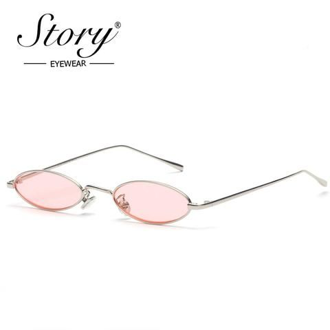 3867bd4c41 STORY 2018 Vintage Retro Small Oval Sunglasses For Men Women Gold Metal  Frame Pink Clear Lens Round Eyeglasses 90s Sunglasses