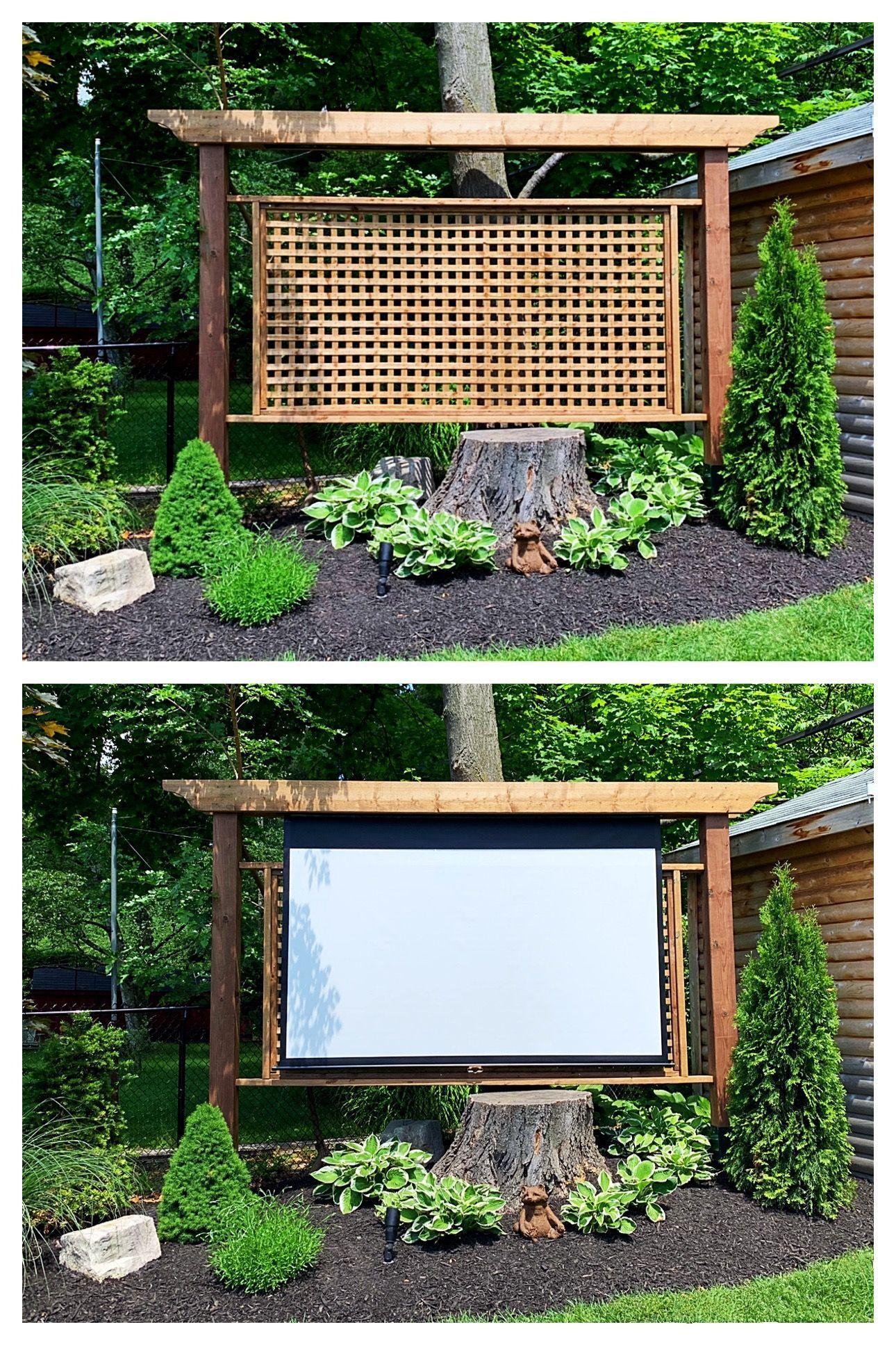 Garden Privacy Screen With Hidden Roll Down Movie Screen Modern Design Garden Privacy Screen Diy Outdoor Movie Screen Garden Privacy
