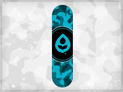 I like this skateboard design. I really think that the different shades of blue that make up the design work really well in the formation of a camo pattern. I do not think that the circle in the middle works very well, it would look way better if the camo pattern extended most of the length of the board instead of being interrupted by a circle.