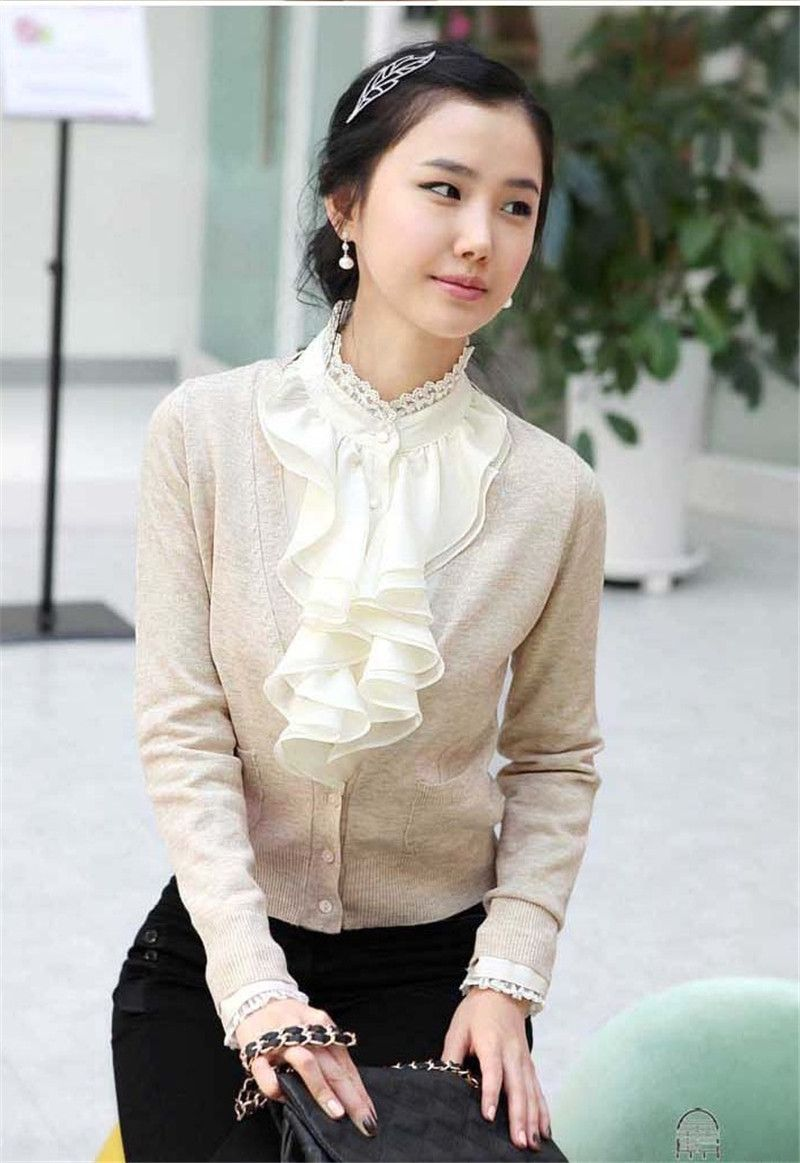 Office Lady Shirt  Blouse Satin Fashion Lady Shirt  Ruffled Collar Slim Shirt  Long  Sleeve Ruffles  Decoration Korean Style E34