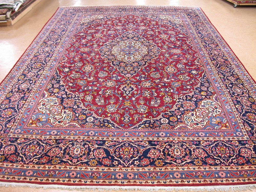 11 X 18 Persian Kashan Hand Knotted Wool Fl Reds Blues Oriental Rug Carpet