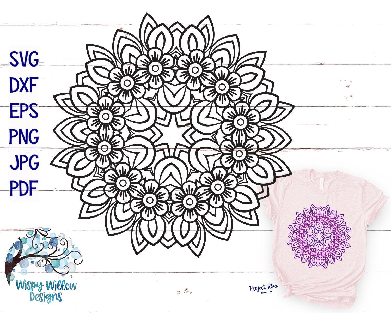 Floral Mandala Svg Dxf Png Eps Png Jpg Digital Download Etsy Mandala Svg Digital Download Etsy Mandala