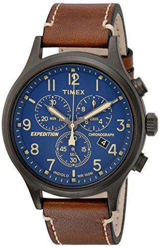 169cc0c10 Timex Men's TW4B09000 Expedition Scout Chrono Brown/Blue Leather Strap Watch .