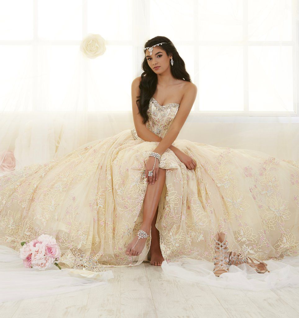 91c931ae3c08 Strapless Floral Lace Quinceanera Dress by House of Wu 26902-House of Wu-ABC  Fashion