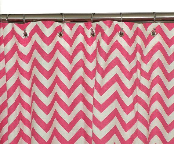 Hot Pink Chevron Shower Curtain Childrens Bathroom By Erinandevan