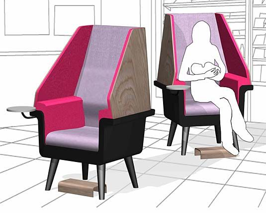 Image Of An Artistu0027s Rendering Of Two Nursing Chairs In A Commercial  Establishment.