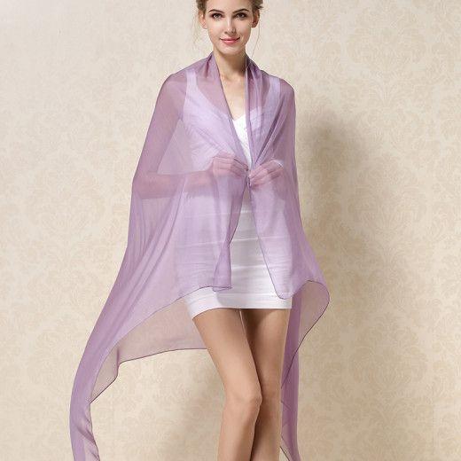 Elegantný veľký dámsky hodvábny šál v svetlo fialovej farbe