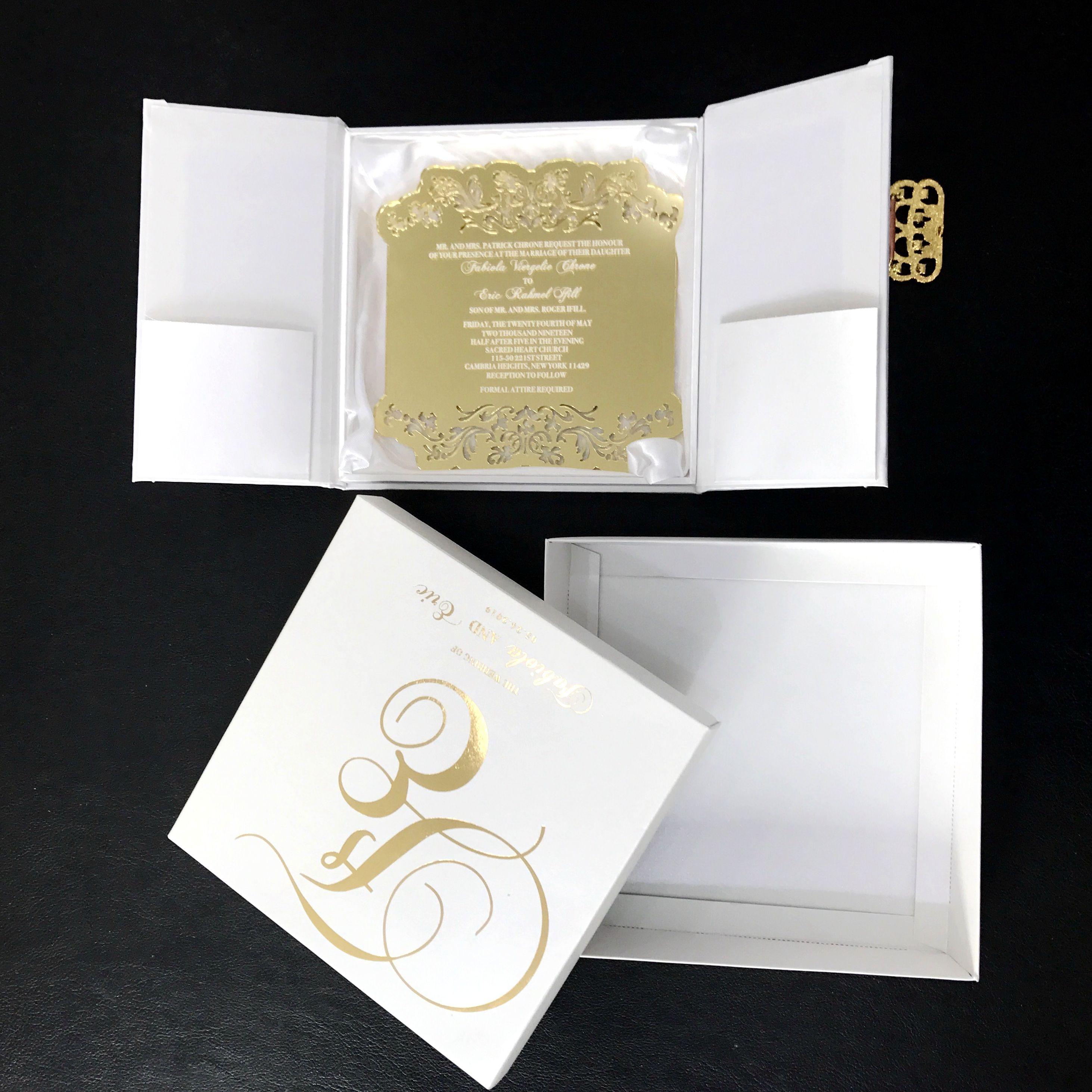 Gold Mirror Acrylic Wedding Invitations Custom Silk Invitation Card