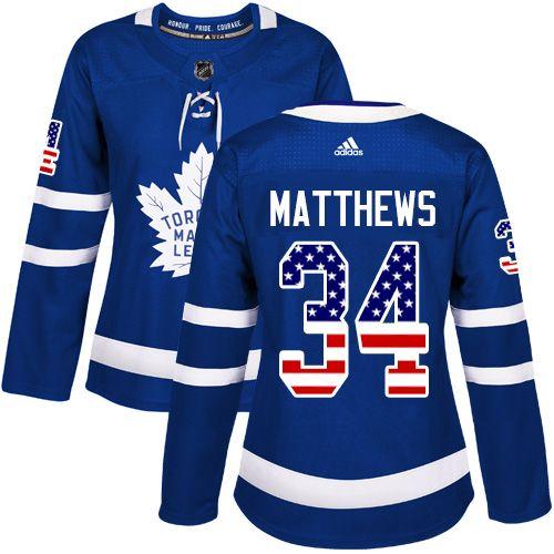 Adidas Toronto Maple Leafs  34 Women s Auston Matthews Authentic Royal Blue  USA Flag Fashion NHL Jersey c4b18e5f3