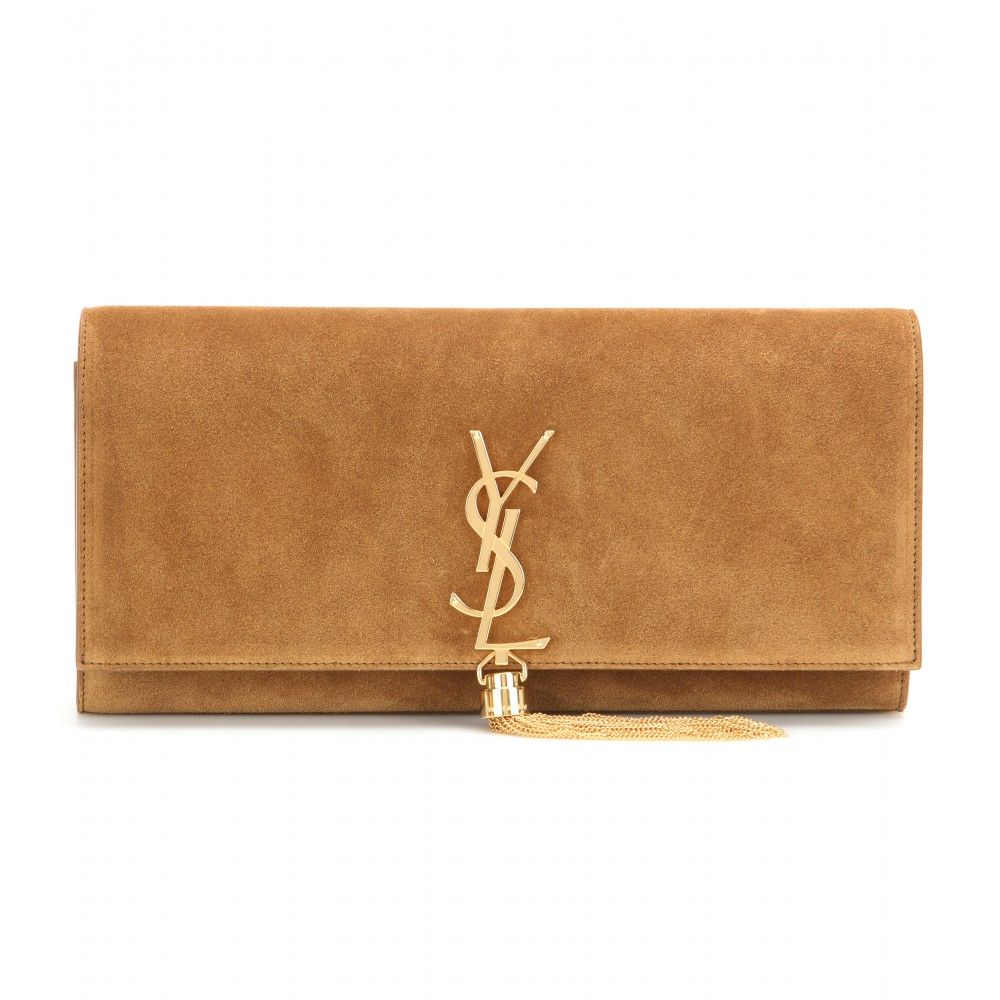 a6feff9677 ... Classic Monogram suede clutch - Bearing the label s signature  YSL   logo