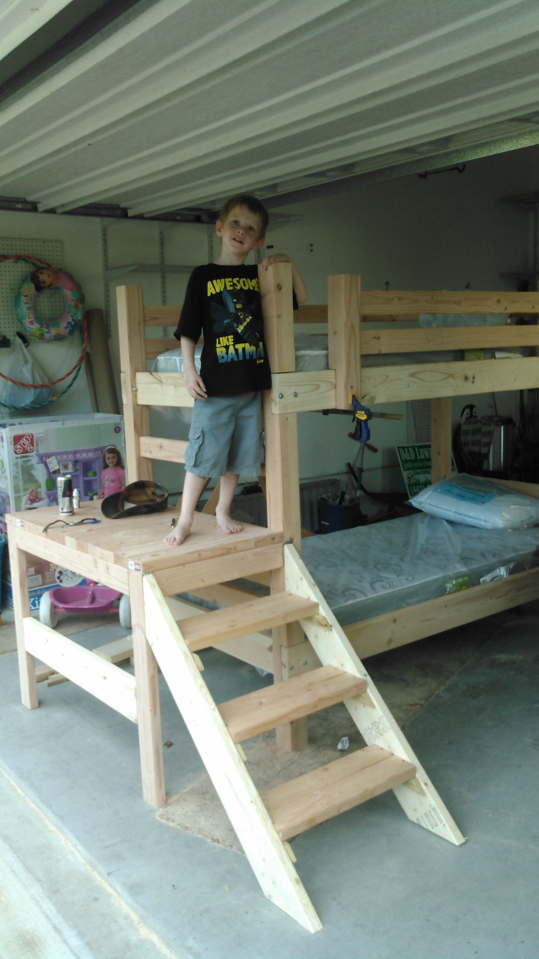 Loft bed with stairs diy  Ana White  Altered Camp Loft Bed w stairs  DIY Projects  bunk