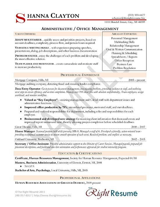 Administrative Manager Resume Example Resume examples and Office - sample insurance manager resume