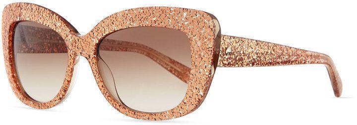 b281314b3 Kate Spade Kte Spde New York Ursula Glitter Cat-Eye Sunglasses, Rose Gold  on shopstyle.com