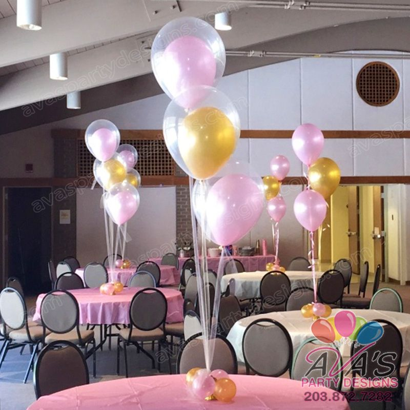 Elegant double bubble balloon with tulle centerpieces