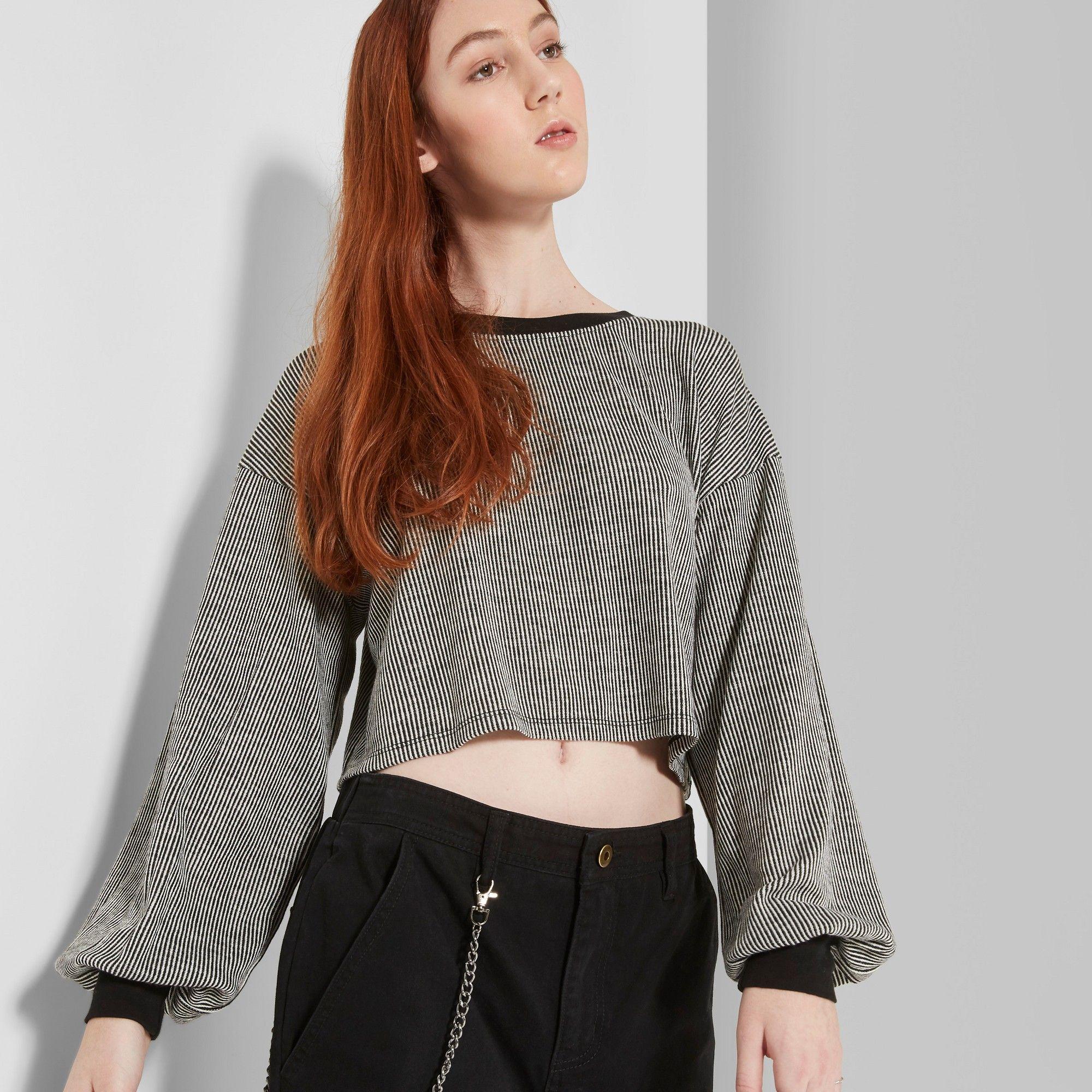 Women's Striped Long Sleeve Round Neck Rib Sweater Knit