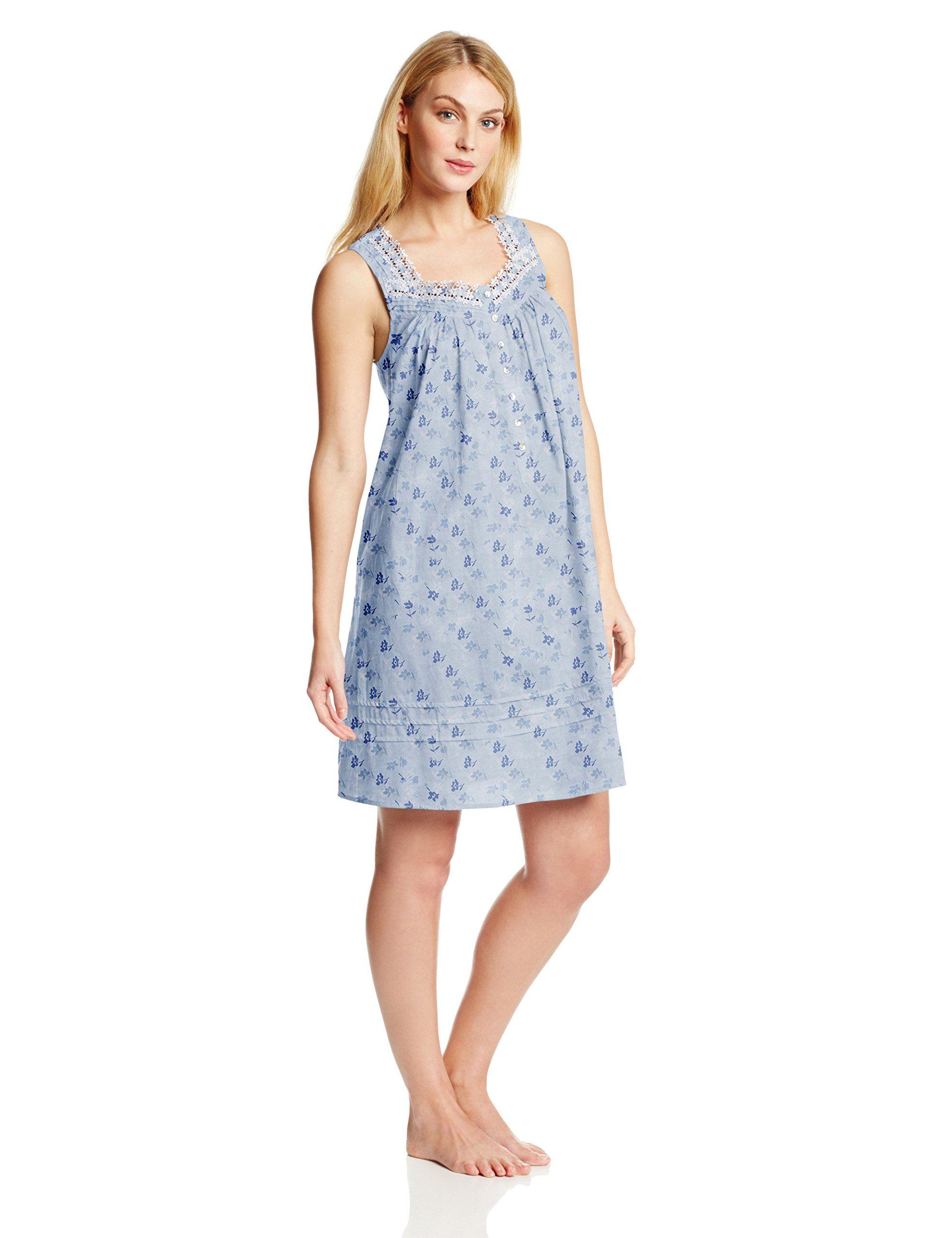 Eileen West Women's Cotton Lawn Nightgown, Blue Floral, XS