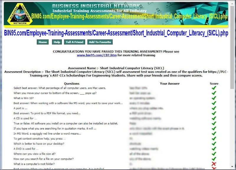 Free Computer Literacy Test (SICL) Use as selfassessment
