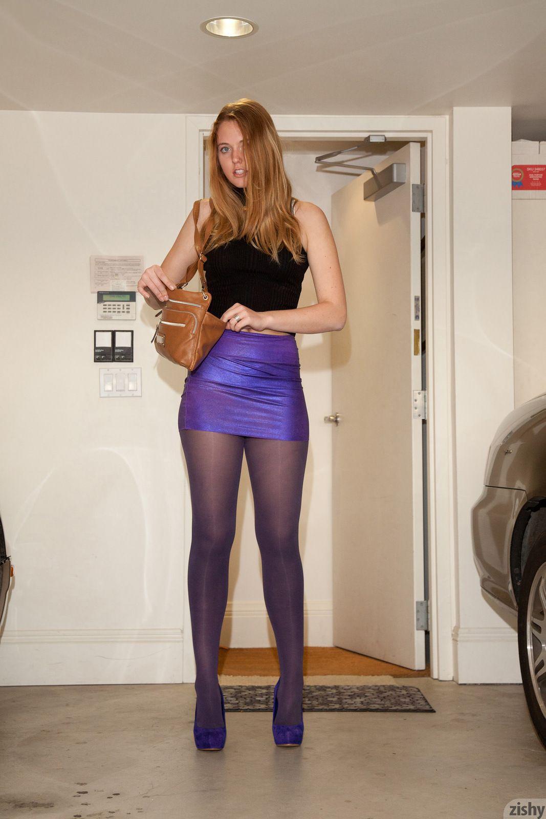 Nicole Wetzel in purple miniskirt, pantyhose, and heels ...