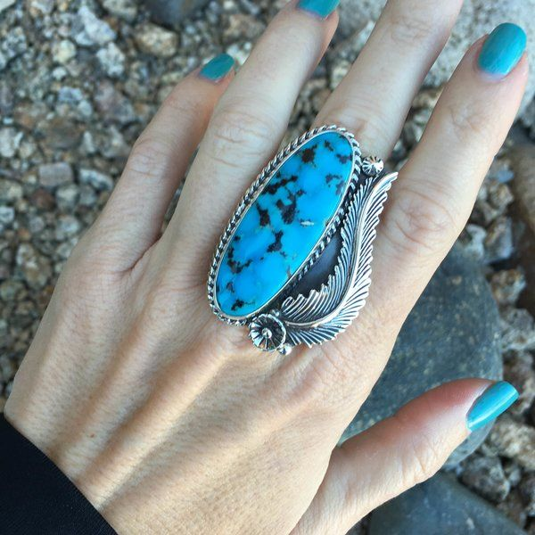 Large Sterling Silver Kingman Turquoise Statement Leaf Ring | Unique & Stylish Sterling Silver Exotic Stone Jewelry