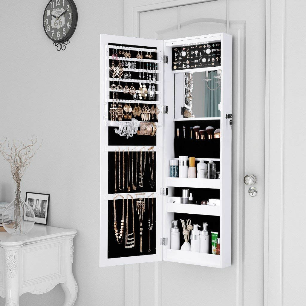Mirrored Jewellery Armoire With 10 Automatic Led Lights And Full Length Mirror Wall Door Mo Wall Mounted Jewelry Armoire Jewelry Cabinet Mirror Jewelry Armoire