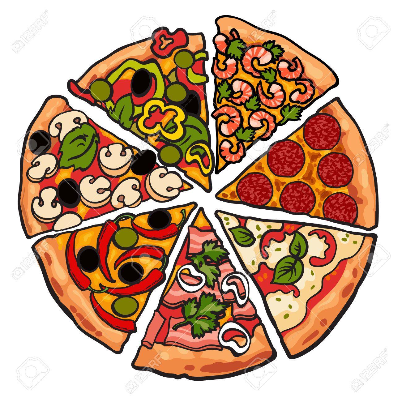 Conjunto De Piezas De Pizza Vaus Ilustracion Dibujo Vectorial De Estilo Aislados Sobre Fondo Blanco Rebanadas De Mashroom Pepperoni Pizza De Queso De Pimienta Dibujo De Pizza Fondo De Pizza Arte
