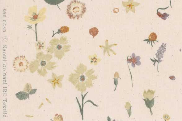 Nani Iro cotton single fabric, Sen ritsu in Rondo, metallic floral on natural