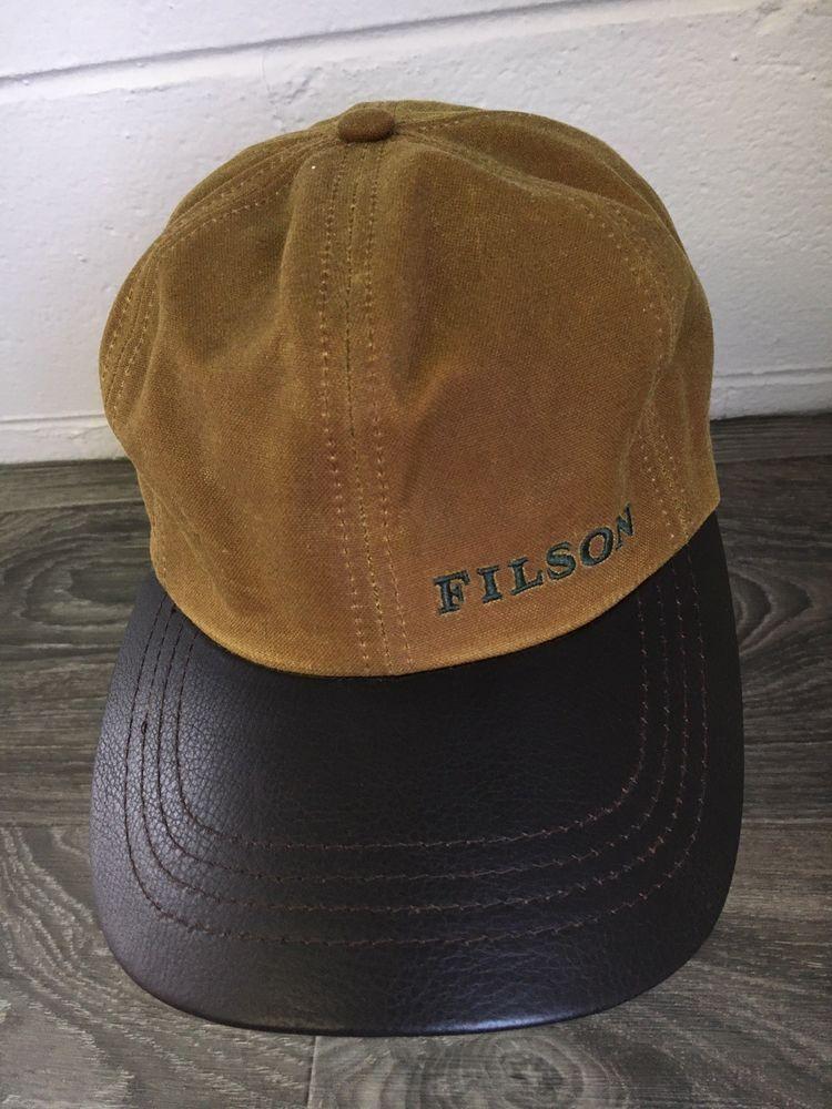 1c2f6a92892 Filson Hat Oil Tin Cloth Dark Tan Leather Bill Strapback Usa Made  Filson   BaseballCap
