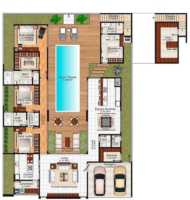 Plano de casa de 288 m2 casas pinterest planos de for Casa vivienda jardin pdf