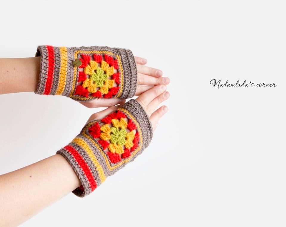 https://www.facebook.com/NadamladasCorner  Fingerless Mittens. Granny Square Mittens. Fingerless Gloves.   #mittens #gloves #fingerlessgloves #boho